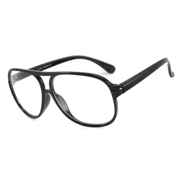 f2e8a97cd8 Cool Aviator Clear Lens Glasses Black Naiser Retro. Boutique